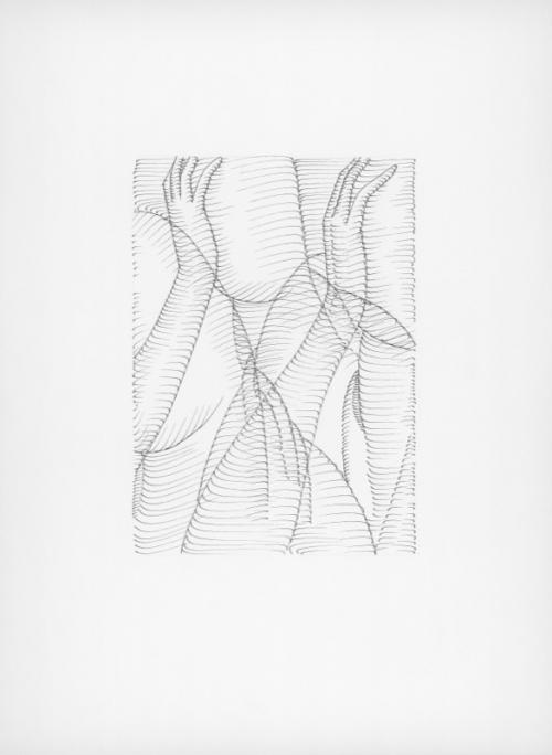 Albert Baronian: Achraf Touloub, Untitled (Reflets gravés), ink on paper, 45x33cm, 2016.