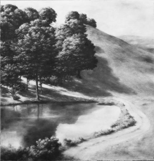 Galerie Felli: Philippe Ségéral, Chemin qui monte, lead on paper mounted on canvas, 150 x 150cm.