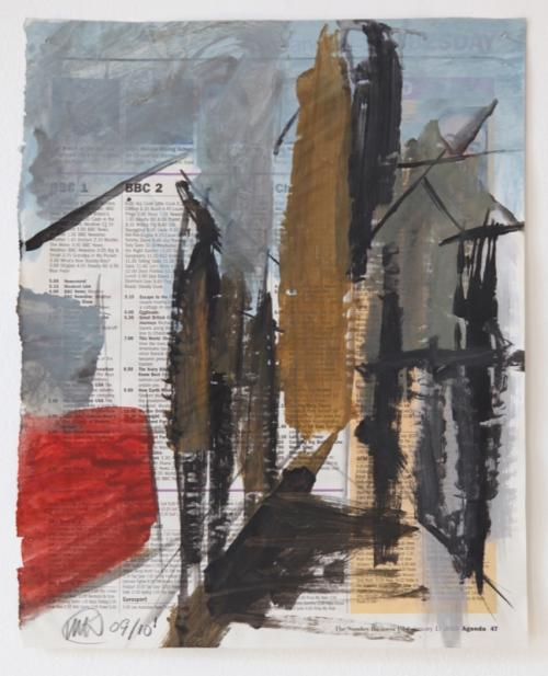 Rubicon Gallery: Michael Kane, Life Story 22, Acrylic and Ink on Newsprint, 34.5 x 27.5cm, 2009-2010.